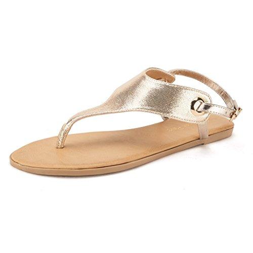 438e613f922 8 M US - DREAM PAIRS Women s ABHA Gold Ankle Strap Gladiator Flat Sandals