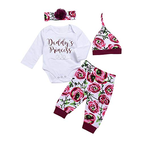 14d8ea44ade0 CPEI 4Pcs Baby Girls Clothes Set, Daddy's Princess Printed Romper Tops+Floral  Pants+Hat+ Flower Headband Rose, 0-3 Months
